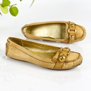 Coach Honor Loafer Flats Leather Slip On Honey Tan